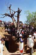People waits for procession comming. Lalibela. Ethiopia.