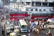 Traffic jam near local bus station at Dhaka. Bangladesh.