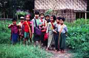 Children at the way to the school. Area around Kalaw village. Myanmar (Burma).