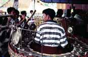 Music band playing at Nat festival. Myanmar (Burma).