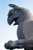 Griffin-headed beasts that stand guard over the Persepolis ruins. Iran.