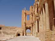 Archaeological Site of Sabratha, Phoenician trading-post was part of the Numidian Kingdom of Massinissa before being Romanized and rebuilt in the 2nd and 3rd centuries A.D. Libya.