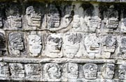 Drawing of The Platform of the Skulls Maya Toltec Architectural Style constructed 1100-1300 A.D., Chichen Itza Mexico.