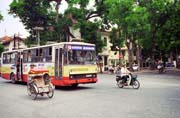 Street at Hanoi and czech bus Karosa. Vietnam.