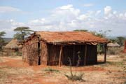Houses with soil and grass on the roof around Jinka. Perfect for hot days. Ethiopia.