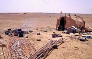 Simple house of local semi-nomad people. One whole family lives here. Mali.
