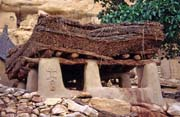 Togu-na, a traditional meeting place for village elders, Ireli village, Dogon country. Mali.
