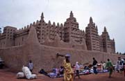 Muddy mosque built at sahel architecture style, Djenné city. Mali.