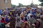 Noon - traditional Monday market is full of people, Djenné city. Mali.