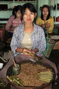 Hand made local Burmese cigars called cheroots, Inle Lake. Myanmar (Burma).