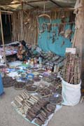 Shop with traditional medicine, Old Bagan market. Myanmar (Burma).