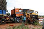 Fresh accident. Driver wanted to pass blocked road. Result is new crashed truck. On the way to Agadez town. Niger.