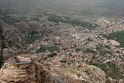 View to the Shibam-Kawkaban village from the top of Jebel Kawkaban mounatin. Yemen.
