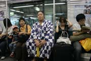 Sumo tournament just started. You can meet sumo wrestlers even at subway. Tokyo. Japan.