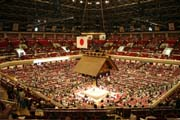 Inside of sumo arena. Arena is called Ryogoku Kokugikan or Sumo Hall. Tokyo. Japan.