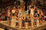 Introduction of Sumo wrestlers. Tokyo. Japan.