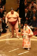 Sumo wrestler is throwing salt - ritual lasted over 1000 years. Tokyo. Japan.