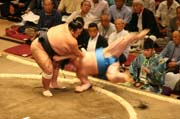 Sumo wrestlers at action. Tokyo. Japan.