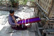 Local and hand operated weaving loom. Mrauk U area. Myanmar (Burma).