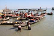 Fishermen in front of fish market, Sittwe town. Myanmar (Burma).