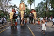 Thaipooya Mahotsavam Festival. Another procession is coming. Thrissur, Kerala. India.