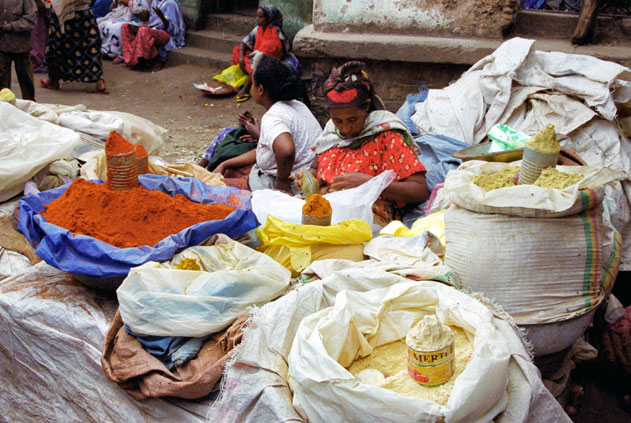 Spice sellers at Dire Dawa market. East,  Ethiopia.