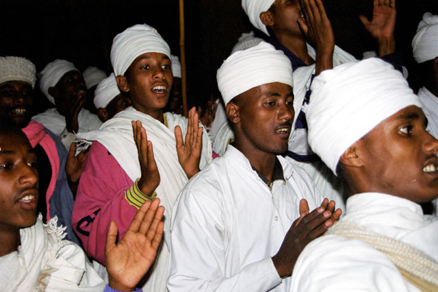 Singing monks during Timkat. Lalibela. North,  Ethiopia.