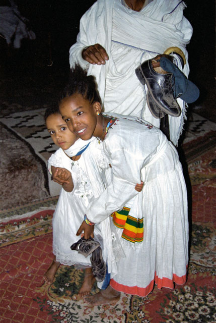 Girls at church during Timkat. Lalibela. North,  Ethiopia.