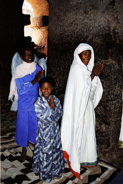 Believers at church during Timkat. Lalibela. North,  Ethiopia.