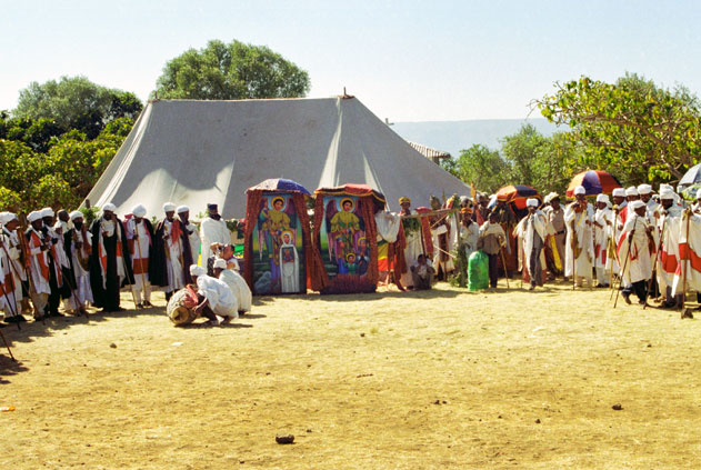 Procession preparation during Timkat. Lalibela North,  Ethiopia.