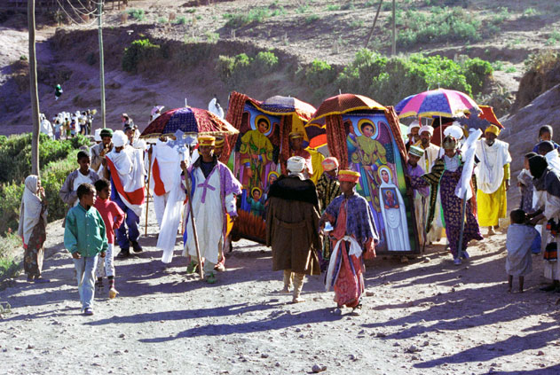 Going to place where main Timkat procession was formed. Lalibela. North,  Ethiopia.