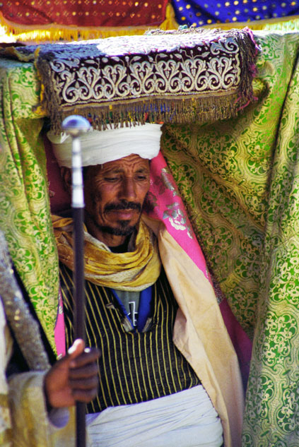 Hisgh priest representing Ark of the Covenant at procession during Timkat. Lalibela. North,  Ethiopia.