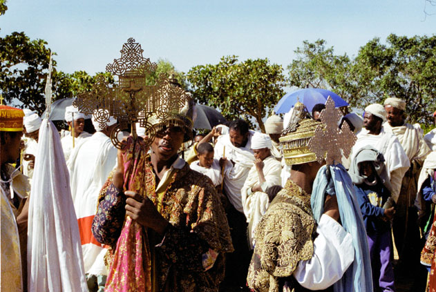 Head of procession during Timkat. Lalibela. North,  Ethiopia.