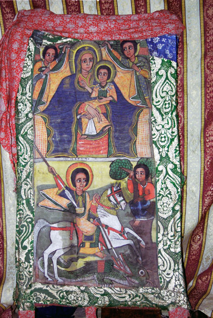 Holy picture at Lalibela stone church. North,  Ethiopia.