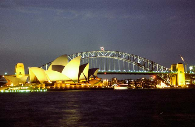 Opera house and Harbour bridge at night, Sydney. Australia.