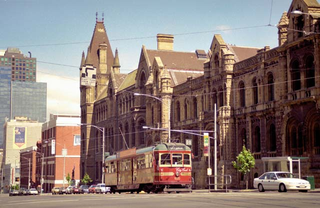 Old tram and Melbourne. Australia.
