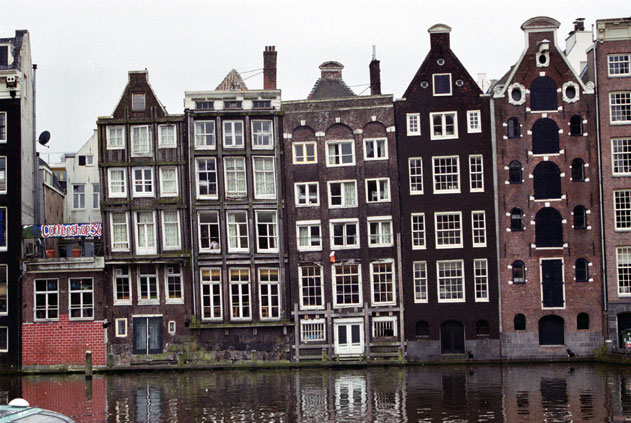 Typical houses at Amsterdam. Netherlands.