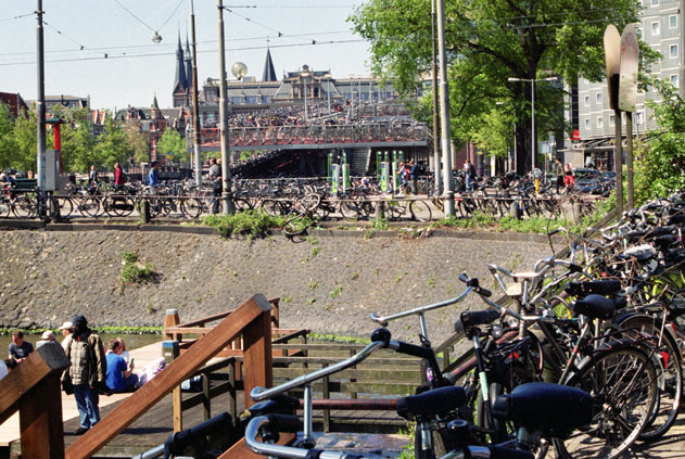 Bicycle parking near main railway station. Amsterdam. Netherlands.