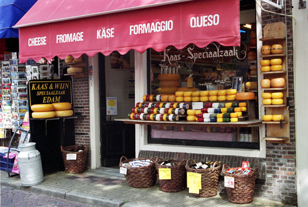 Chees selling at Edam. Netherlands.