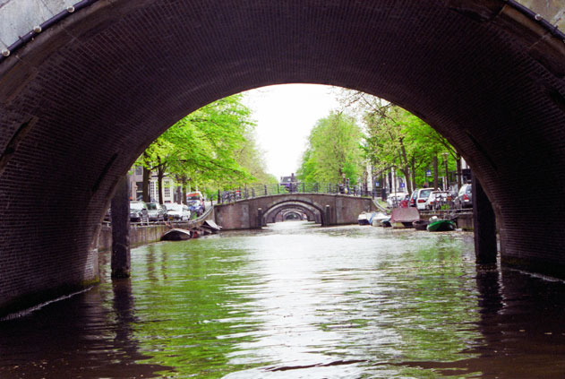 View from water channel. Amsterdam. Netherlands.