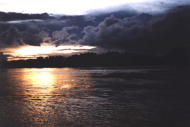 Sunset over Mekong river. Laos.