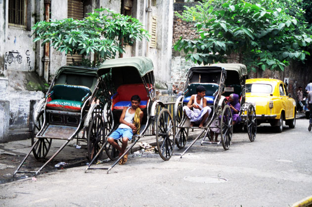 Resting rikshaws in Calcutta. India.