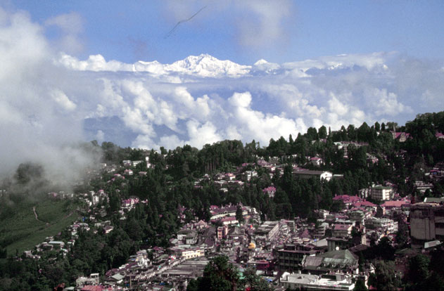 Darjeeling and view to Himalaya mountains. India.