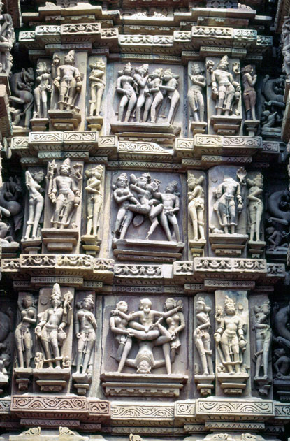 Erotic decoration of Khajuraho temples. India.