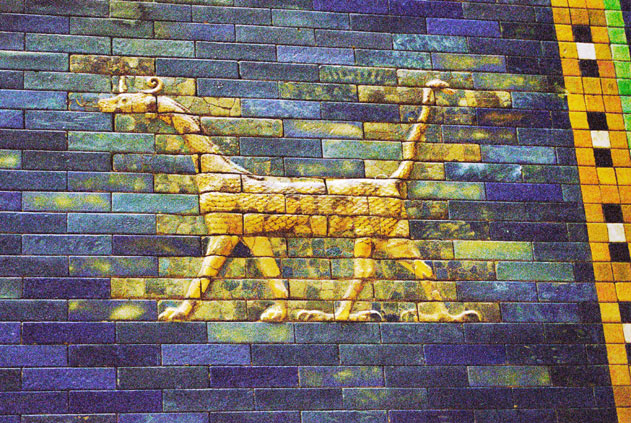 Decoration at Ischtar Gate from Mesopotania area. Pergamon museum, Berlin. Germany.