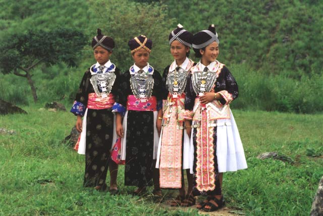 Lao girls in traditional costume. Laos.
