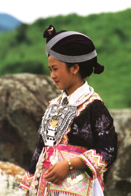 Lao girl in traditional costume. Laos.