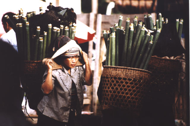 Woman from Akha hill tribe at Muang Sing market. Laos.
