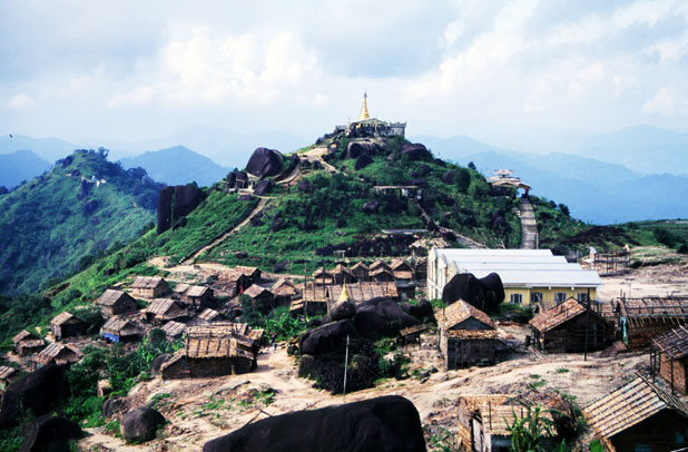 View to local villages from holy stupa at Kyaiktiyo. Myanmar (Burma).
