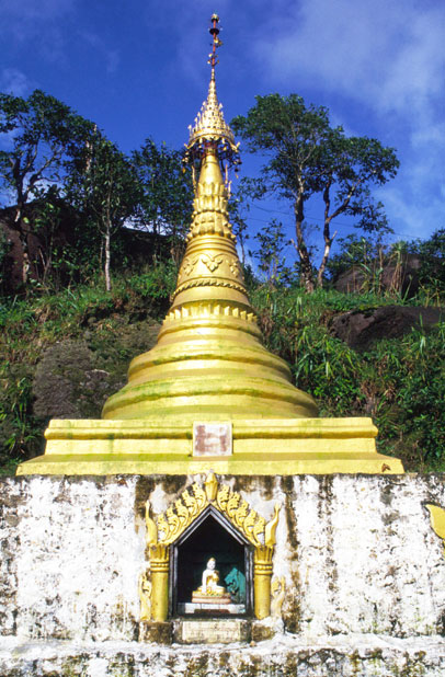 Small stupa on the way to holy stupa at Kyaiktiyo. Myanmar (Burma).
